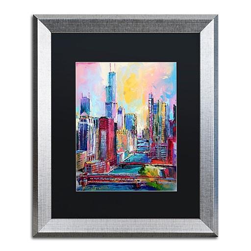 """Trademark Fine Art ''Chicago 3'' by Richard Wallich 16"""" x 20"""" Black Matted Silver Frame (886511838925)"""
