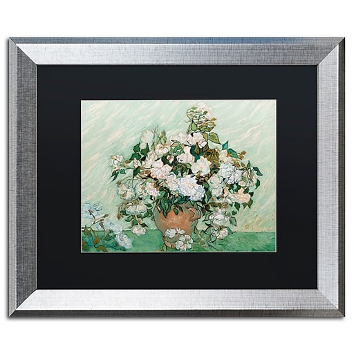 """Trademark Fine Art ''Roses 1890'' by Vincent Van Gogh 16"""" x 20"""" Black Matted Silver Frame (886511840942)"""