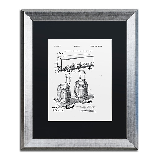 """Trademark Fine Art ''Art Of Brewing Beer Patent White'' by Claire Doherty 16"""" x 20"""" Black Matted Silver Frame (886511841710)"""