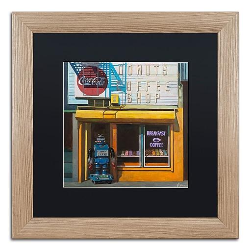 "Trademark Fine Art ''Blue Zeroid'' by Eric Joyner 16"" x 16"" Black Matted Wood Frame (886511839601)"