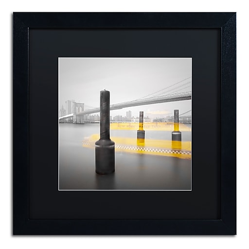 """Trademark Fine Art ''New York Water Taxi'' by Moises Levy 16"""" x 16"""" Black Matted Black Frame (886511869691)"""