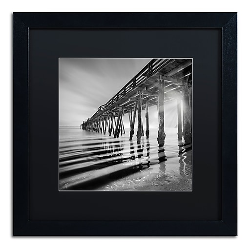 """Trademark Fine Art ''Pier and Shadows'' by Moises Levy 16"""" x 16"""" Black Matted Black Frame (886511876736)"""