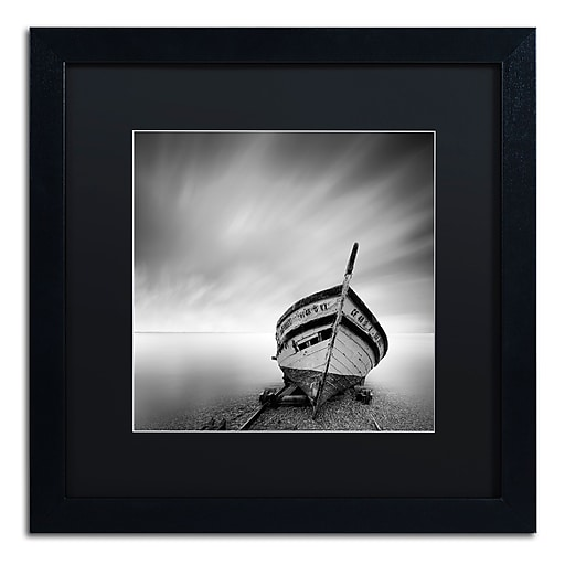 "Trademark Fine Art ''Boat I'' by Moises Levy 16"" x 16"" Black Matted Black Frame (886511876859)"