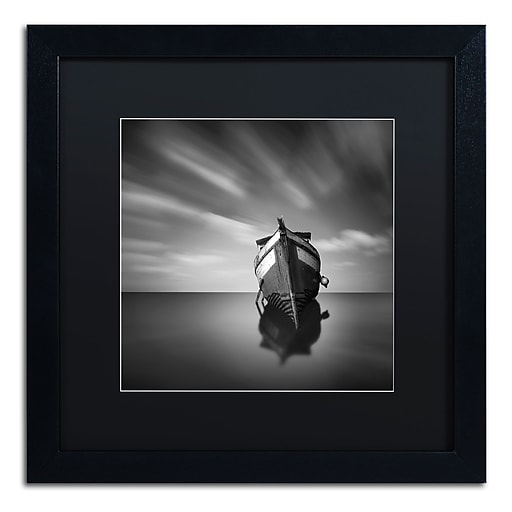 "Trademark Fine Art ''My Boat IV'' by Moises Levy 16"" x 16"" Black Matted Black Frame (886511877337)"