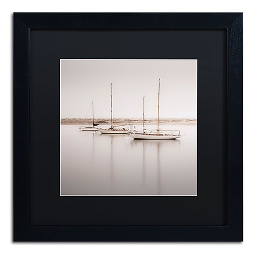"Trademark Fine Art ''Three Boats'' by Moises Levy 16"" x 16"" Black Matted Black Frame (886511879256)"