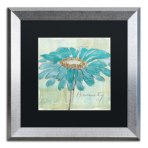 "Trademark Fine Art ''Spa Daisies I'' by Chris Paschke 16"" x 16"" Black Matted Silver Frame (886511859647)"