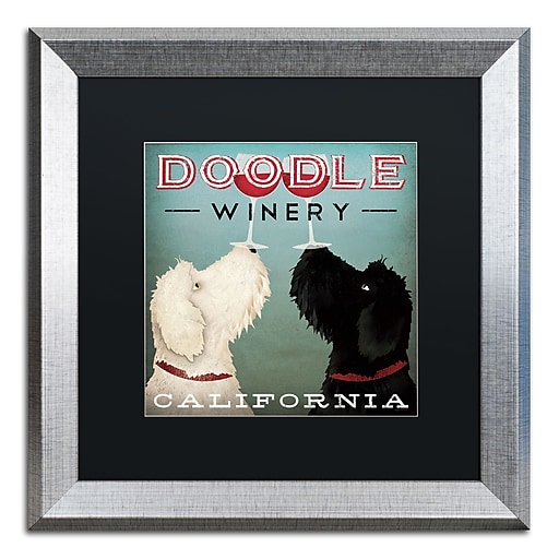 """Trademark Fine Art ''Doodle Wine'' by Ryan Fowler 16"""" x 16"""" Black Matted Silver Frame (886511860124)"""