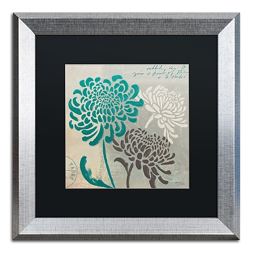 "Trademark Fine Art ''Chrysanthemums I'' by Wellington Studio 16"" x 16"" Black Matted Silver Frame (886511860445)"