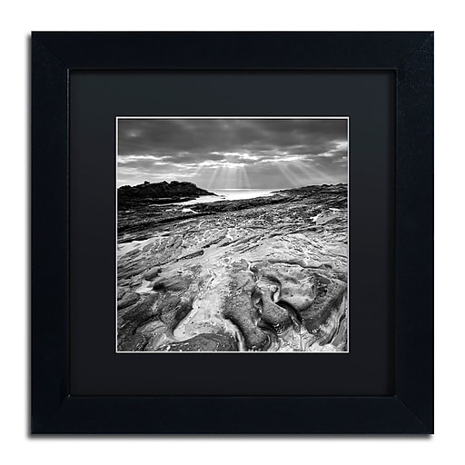 "Trademark Fine Art ''Sunset at Point Lobos'' by Moises Levy 11"" x 11"" Black Matted Black Frame (886511872837)"