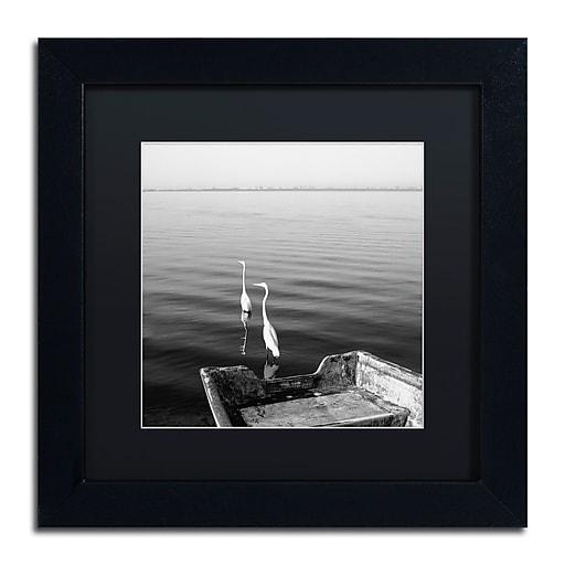 "Trademark Fine Art ''2 Herons Leaving'' by Moises Levy 11"" x 11"" Black Matted Black Frame (886511873193)"