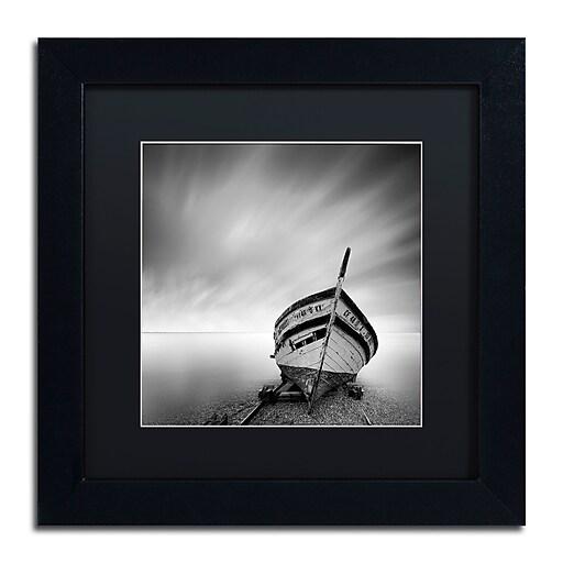 "Trademark Fine Art ''Boat I'' by Moises Levy 11"" x 11"" Black Matted Black Frame (886511876835)"