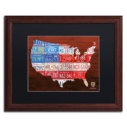 "Trademark Fine Art ''USA Flag Map'' by Design Turnpike 16"" x 20"" Black Matted Wood Frame (886511905511)"