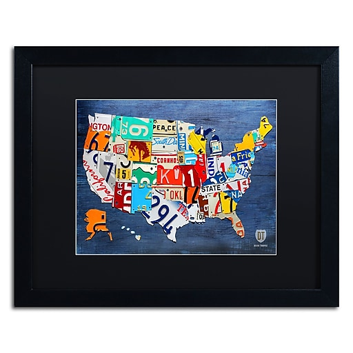 "Trademark Fine Art ''USA Map'' by Design Turnpike 16"" x 20"" Black Matted Black Frame (886511905986)"