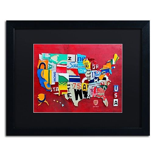"Trademark Fine Art ''License Plate Map Miniature'' by Design Turnpike 16"" x 20"" Black Matted Black Frame (886511906365)"