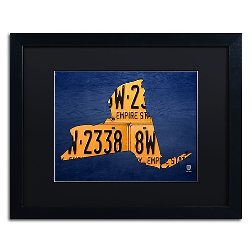 "Trademark Fine Art ''New York License Plate Map'' by Design Turnpike 16"" x 20"" Black Matted Black Frame (886511909267)"