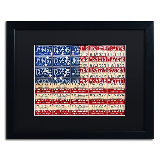 "Trademark Fine Art ''Betsy Ross Flag'' by Design Turnpike 16"" x 20"" Black Matted Black Frame (886511910980)"