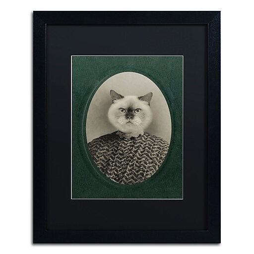 "Trademark Fine Art ''Cat Series #1'' by J Hovenstine Studios 16"" x 20"" Black Matted Black Frame (886511912502)"