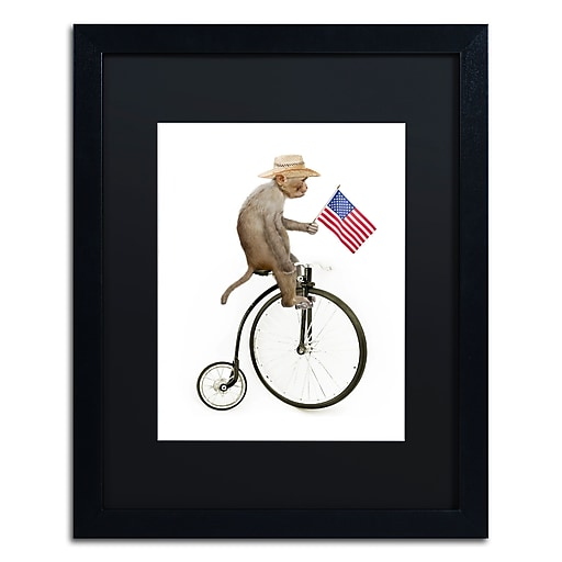 "Trademark Fine Art ''Monkeys Riding Bikes #3'' by J Hovenstine Studios 16"" x 20"" Black Matted Black Frame (886511914506)"