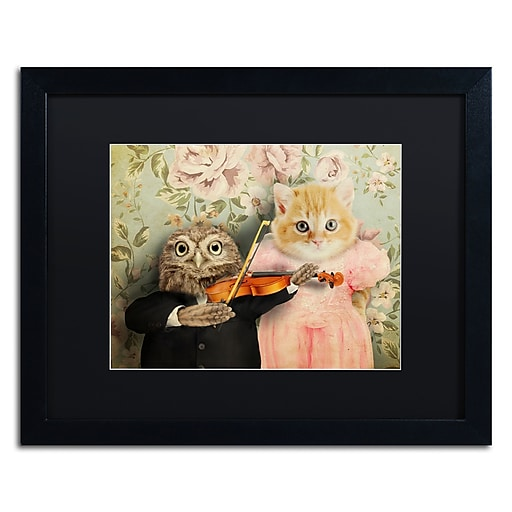 """Trademark Fine Art ''The Owl And The Pussycat'' by J Hovenstine Studios 16"""" x 20"""" Black Matted Black Frame (886511916005)"""