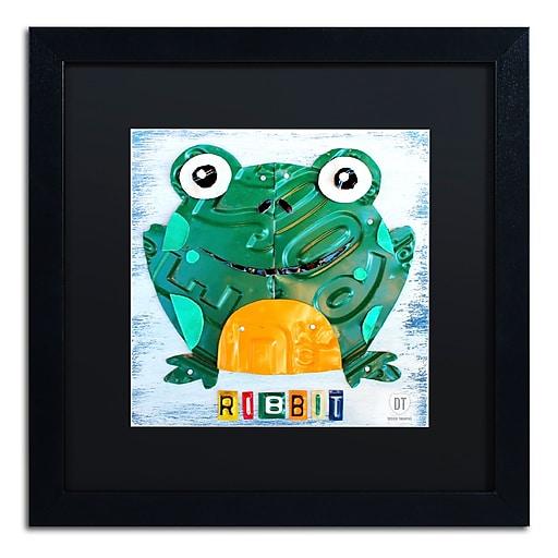 "Trademark Fine Art ''Ribbit the Frog'' by Design Turnpike 16"" x 16"" Black Matted Black Frame (886511906969)"