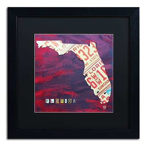 "Trademark Fine Art ''Florida License Plate'' by Design Turnpike 16"" x 16"" Black Matted Black Frame (886511907164)"