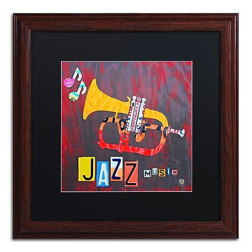 "Trademark Fine Art ''Jazz Series Trumpet'' by Design Turnpike 16"" x 16"" Black Matted Wood Frame (886511907430)"