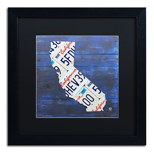 "Trademark Fine Art ''California License Plate'' by Design Turnpike 16"" x 16"" Black Matted Black Frame (886511909168)"
