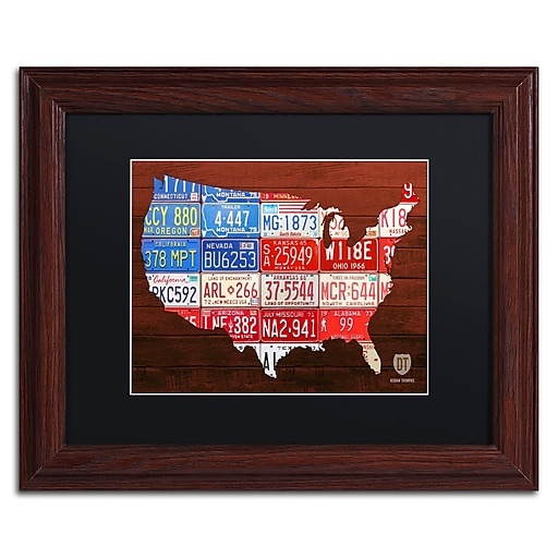 "Trademark Fine Art ''USA Flag Map'' by Design Turnpike 11"" x 14"" Black Matted Wood Frame (886511905504)"