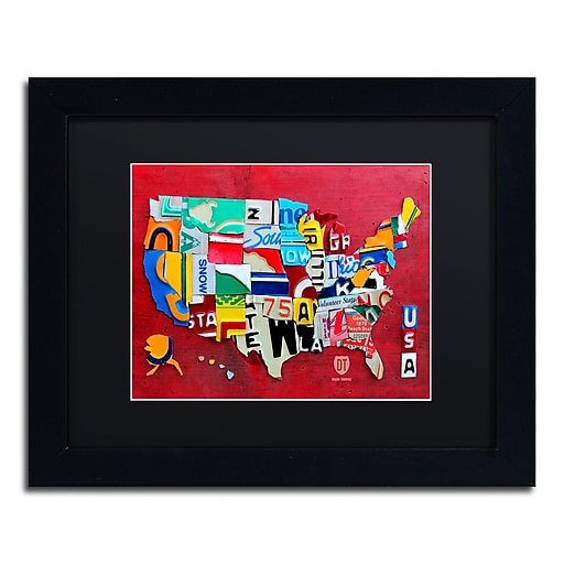 "Trademark Fine Art ''License Plate Map Miniature'' by Design Turnpike 11"" x 14"" Black Matted Black Frame (886511906341)"