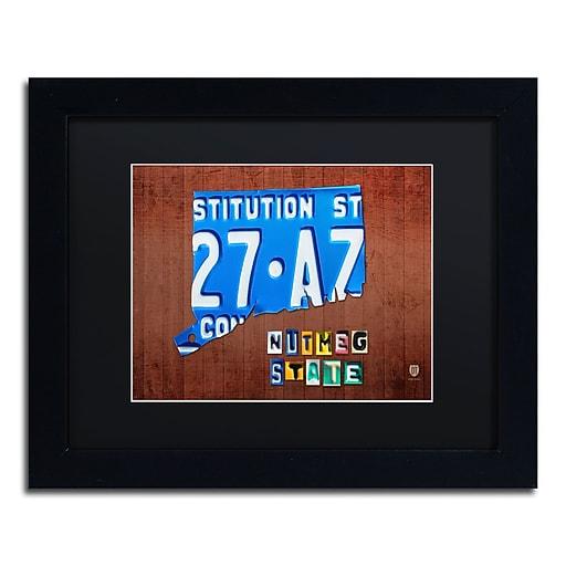 "Trademark Fine Art ''Connecticut License Plate'' by Design Turnpike 11"" x 14"" Black Matted Black Frame (886511907522)"