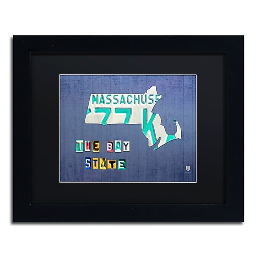 """Trademark Fine Art ''Massachusetts License Plate'' by Design Turnpike 11"""" x 14"""" Black Matted Black Frame (886511907621)"""