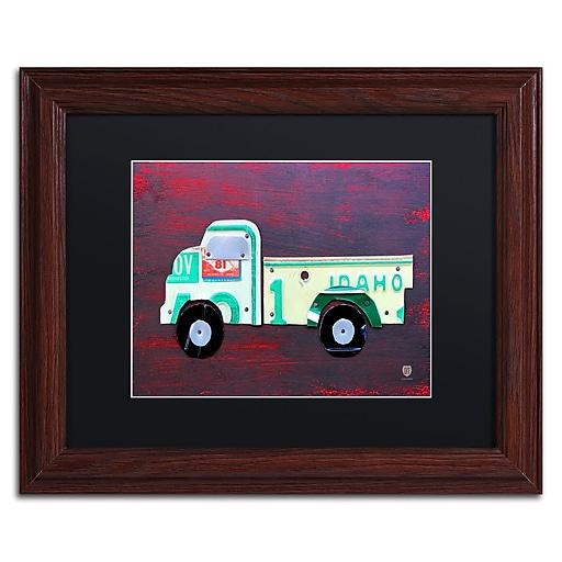 "Trademark Fine Art ''Pickup Truck'' by Design Turnpike 11"" x 14"" Black Matted Wood Frame (886511908826)"