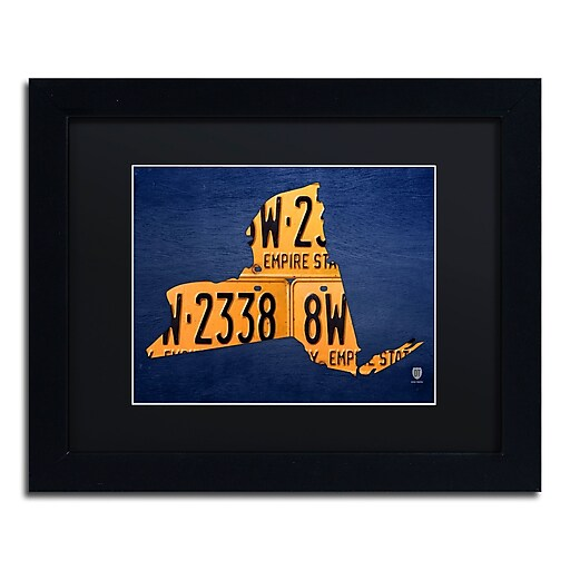 "Trademark Fine Art ''New York License Plate Map'' by Design Turnpike 11"" x 14"" Black Matted Black Frame (886511909243)"