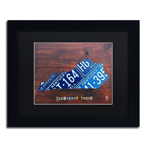 "Trademark Fine Art ''Kentucky License Plate Map'' by Design Turnpike 11"" x 14"" Black Matted Black Frame (886511911062)"