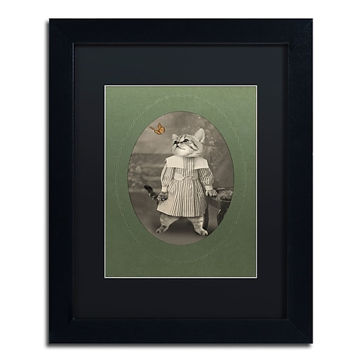 "Trademark Fine Art ''Cat Series #2'' by J Hovenstine Studios 11"" x 14"" Black Matted Black Frame (886511912588)"