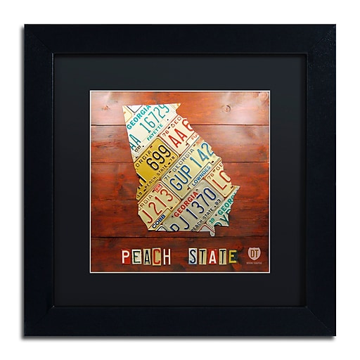 "Trademark Fine Art ''Georgia Map'' by Design Turnpike 11"" x 11"" Black Matted Black Frame (886511905320)"