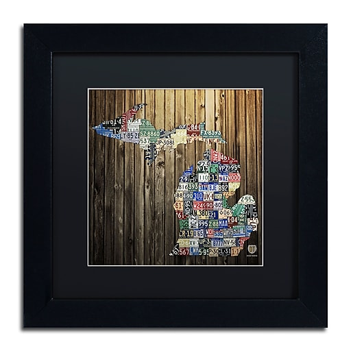"""Trademark Fine Art ''Michigan Counties License Plate'' by Design Turnpike 11"""" x 11"""" Black Matted Black Frame (886511905603)"""