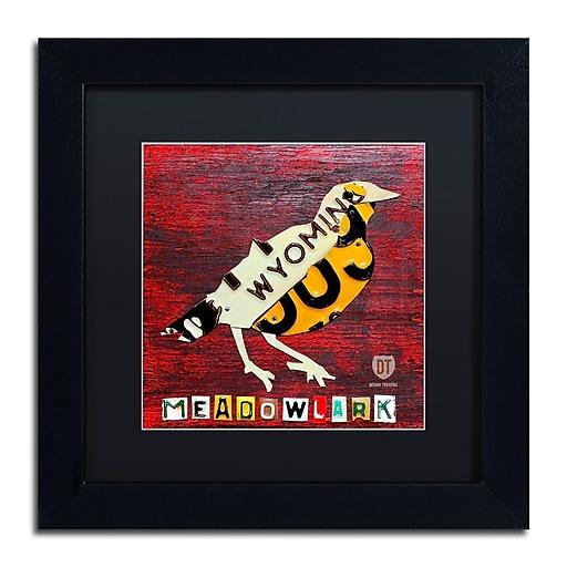"Trademark Fine Art ''Wyoming Meadowlark'' by Design Turnpike 11"" x 11"" Black Matted Black Frame (886511906105)"