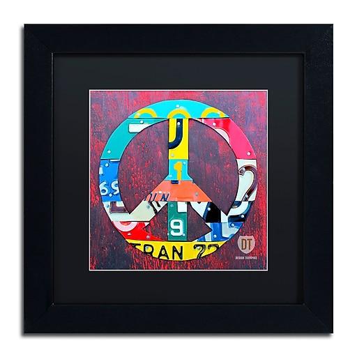 "Trademark Fine Art ''Peace'' by Design Turnpike 11"" x 11"" Black Matted Black Frame (886511906440)"