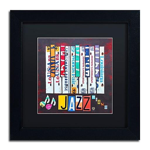 "Trademark Fine Art ''Jazz Series Piano'' by Design Turnpike 11"" x 11"" Black Matted Black Frame (886511907249)"