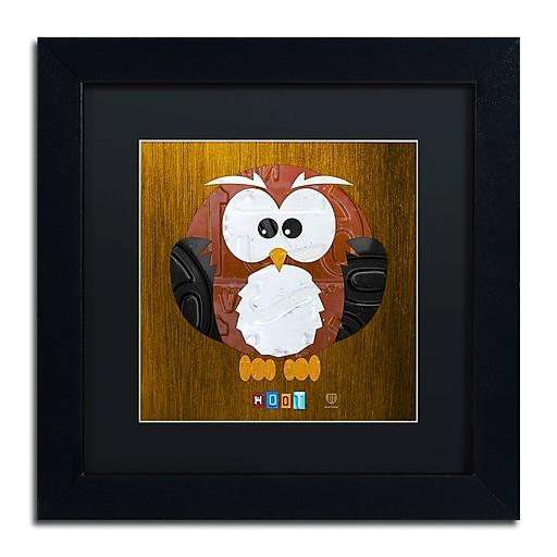 "Trademark Fine Art ''Hoot The Owl'' by Design Turnpike 11"" x 11"" Black Matted Black Frame (886511910102)"