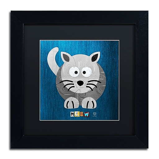 """Trademark Fine Art ''Meow The Cat'' by Design Turnpike 11"""" x 11"""" Black Matted Black Frame (886511910201)"""