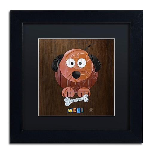 "Trademark Fine Art ''Woof The Dog'' by Design Turnpike 11"" x 11"" Black Matted Black Frame (886511910409)"