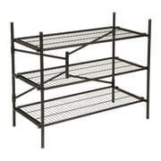 Cosco Folding/Stackable 3 Tier Storage Shelving, Metal, Black
