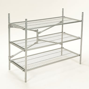 Cosco Folding/Stackable 3 Tier Storage Shelving, Metal, Silver