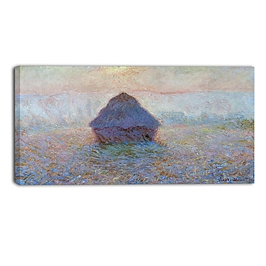 Designart Claude Monet, Grainstack Sun in the Mist Landscape Canvas Arwork, (PT4245-32-16)