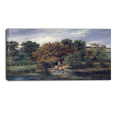 Designart James Stark, Sheep Washing at Postwick Grove Canvas Art Print, (PT4544-32-16)