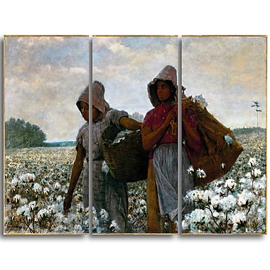Designart Winslow Homer, The Cotton Pickers Canvas Art Print, 3 Panels, (PT5020-3P)
