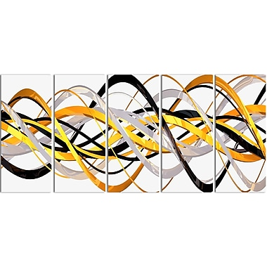 Designart Gold and Silver Helix 5-Panel Modern Canvas Art Print, (PT3043-401)