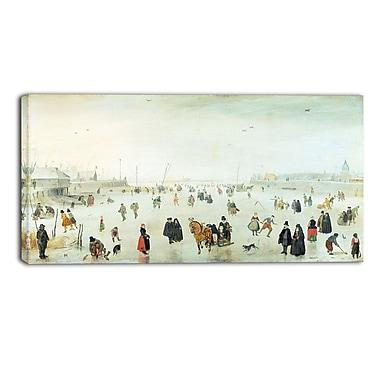Designart – Hendrick Avercamp, scène sur la glace, toile d'illustration de paysage (PT4487-32-16)